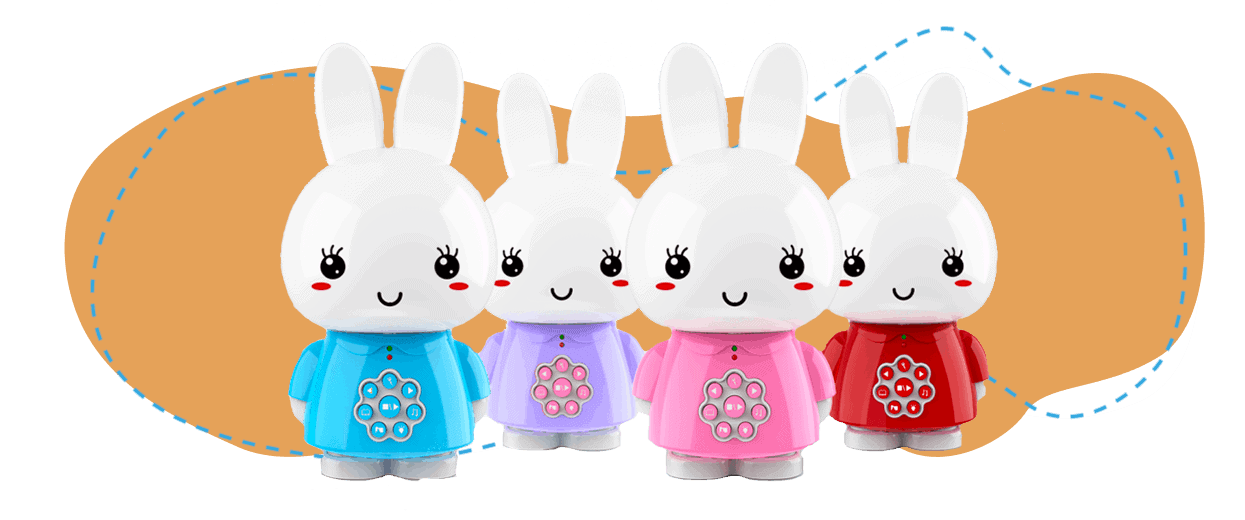 4 Models of Alilo Honey Bunny: Blue, Purple, Pink and Red